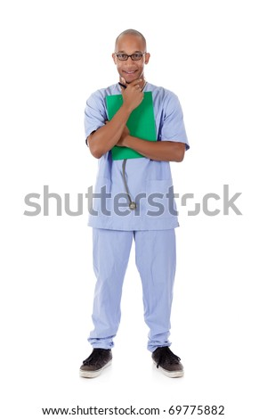 Young successful African American man doctor with stethoscope and clipboard. Studio shot. White background - stock photo
