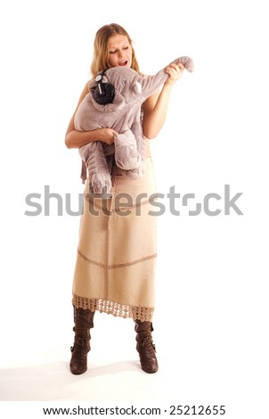 young woman and elephant sing a song - stock photo