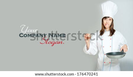Young woman in chef�¢??s attire with funny expression with an egg and a frying pan  - stock photo