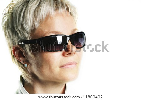 Young woman in sun-protective glasses,  isolated on the white background