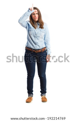 young woman loser gesture. isolated - stock photo
