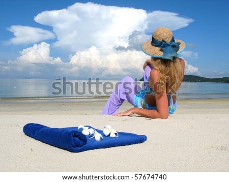 Young woman on a beach of Langkawi island, Malaysia - stock photo