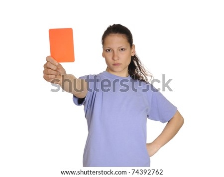 young woman shows red card - stock photo
