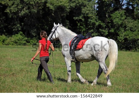 Young woman walks together with her horse - stock photo