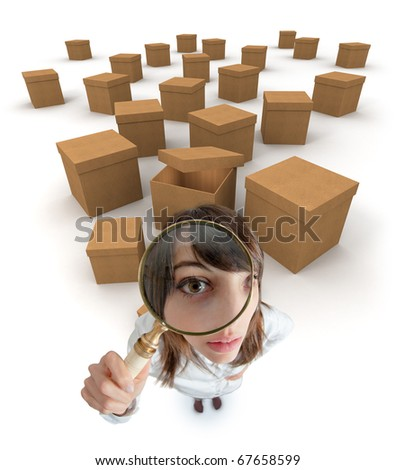 Young woman with a magnifying glass surrounded by cardboard boxes - stock photo