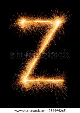 """Z"" letter drawn with bengali sparkles isolated on black background - stock photo"