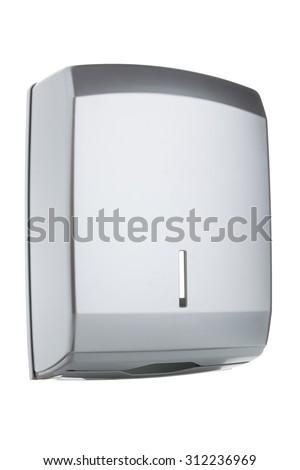 Z type paper towel dispenser made of gray matte plastic - stock photo