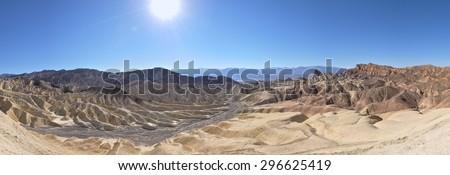 Zabriskie Point Panorama,Death Valley, USA - stock photo