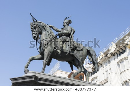 Zagreb, Croatia, September 8, 2016. The statue of  ban Josip Jelai in the homonymous square in downtown