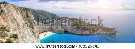 ,Zakynthos island, Navagio Beach, Greece - stock photo