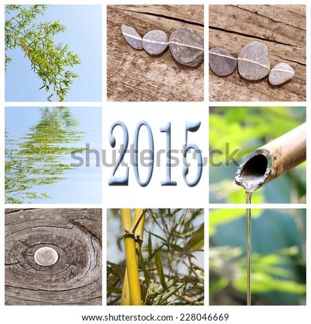 2015, zen bamboo square collage - stock photo