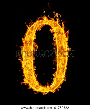 0 (zero), fire figure - stock photo