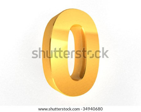 0 - Zero Gold Number on white background - 3d image - stock photo