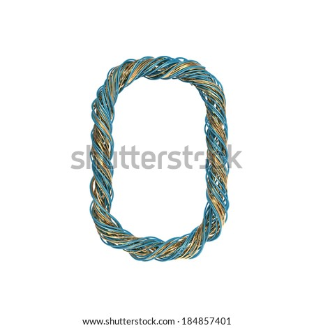 0, zero, set of numbers of twisted wire - stock photo