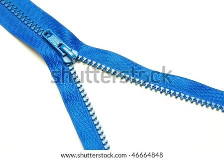 zipper on white - stock photo