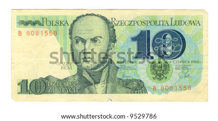 10 zloty bill of Poland, green colours