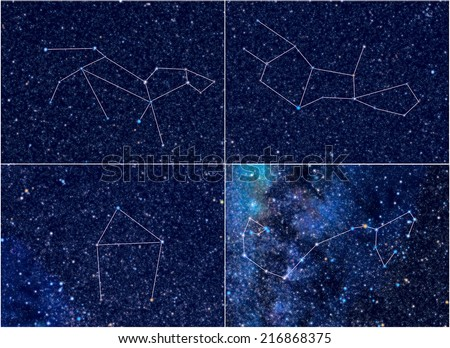 4 Zodiac constellations. Each pic contains 1) pic of sky area as it looks at the real sky; 2) lines forming an image corresponding to the constellation name. Leo, Virgo, Libra, Scorpio (Scorpion). - stock photo