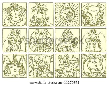12 Zodiac signs - stock photo