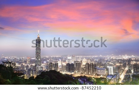 A a beautiful and a clear evening view, looking at Taipei-101 and Taipei City from a popular mountain park--Elephant Mountain, Taipei, Taiwan - stock photo
