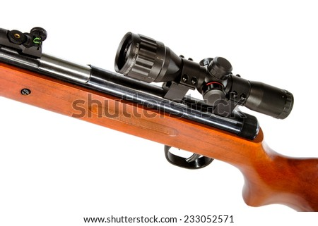 a air rifle with a telescopic sight and a wooden butt