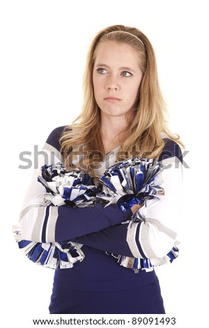 a angry cheerleader with a unhappy expression on her face. - stock photo