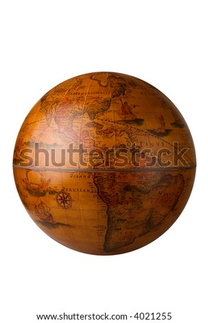 a antique globe on white for easy isolation - stock photo