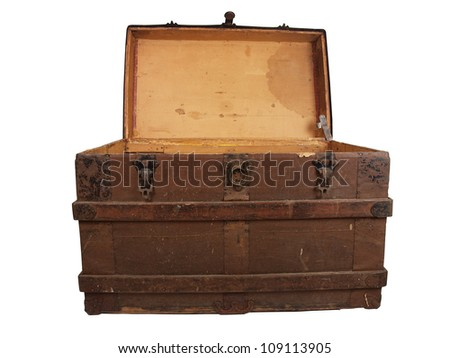 a antique wooden chest isolated on a white background - stock photo