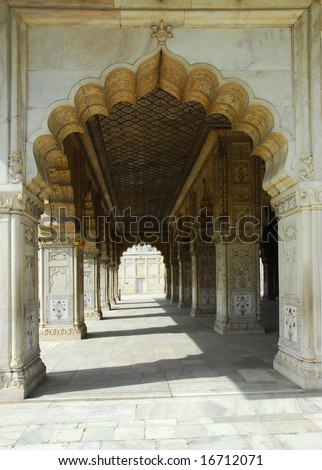 A arch in the Red Fort in Delhi, India - stock photo