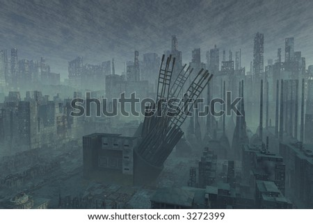 A armageddon type scene after a war or a natural diaster - stock photo
