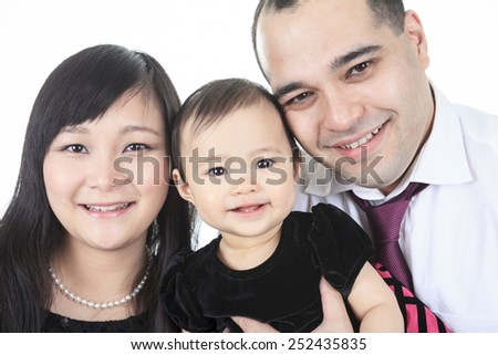 A Asian baby and family on a studio white background