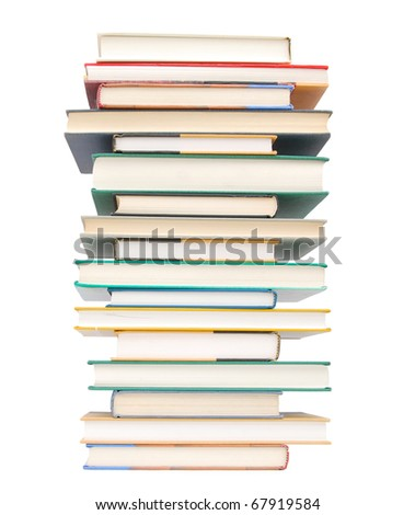 A assorted textbook tower - stock photo