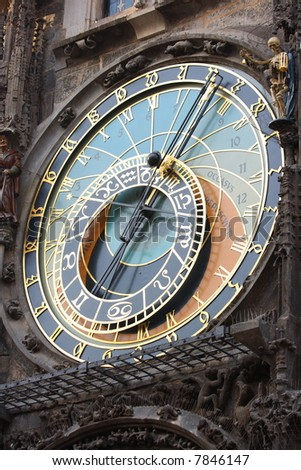 A astronomical clock in Prague, Czech republic in the Old Town Square. - stock photo