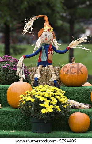 A autumn display of mums, pumpkins and a cute scarecrow. - stock photo