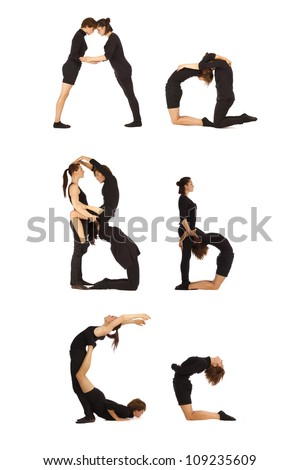 A, B and C abc letters formed by humans - stock photo