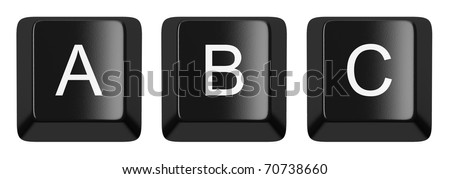A, B, C black computer keys alphabet isolated on white
