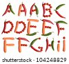 A-B-C-D-E-F-G-H-I alphabet letters made with fresh vegetables on the white background (isolated on white).  Make your own words in vegetables (tomato, pepper, carrot). Every letter X large size - stock photo