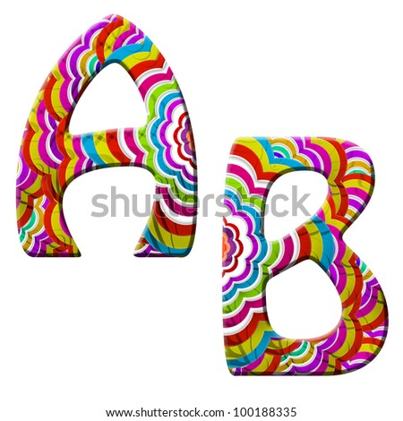 A, B, Colorful wave font isolated on white. - stock photo