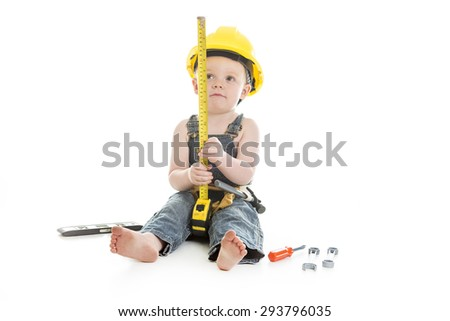 A baby boy portrait wearing as a carpenter over a isolated white background - stock photo