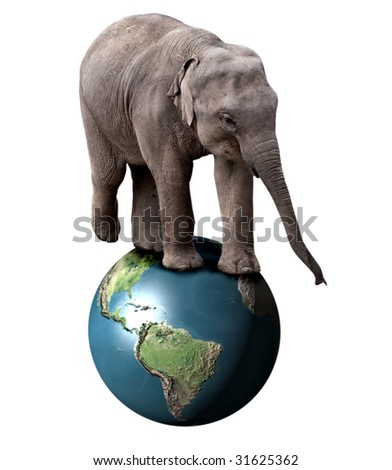 A baby circus elephant balancing on the planet Earth - stock photo