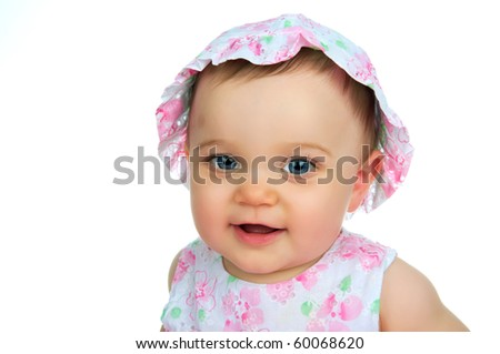 A baby girl wearing a sun hat isolated on a white background