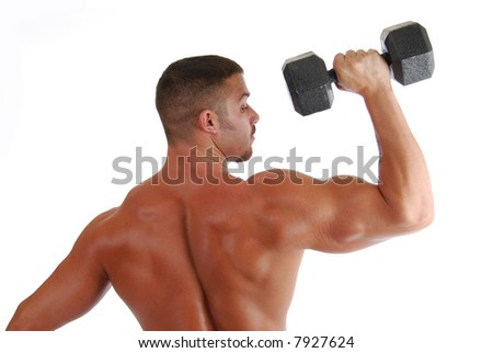 A back view of a bodybuilder lifting weights - stock photo