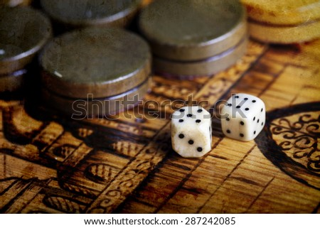 a Backgammon dice vintage background - stock photo