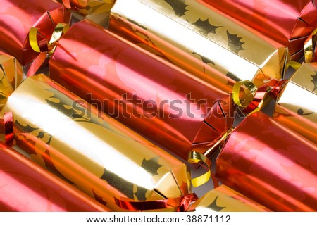 a background abstract image of christmas crackers