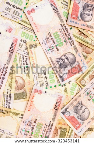 A background and texture of indian rupee currency,money got profit from business - stock photo