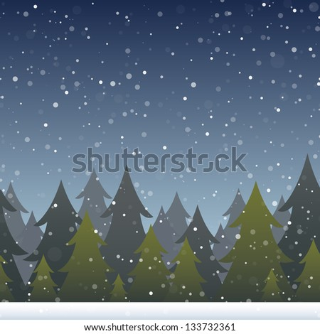A background depicting a snowy evergreen forest. Horizontally repeatable. Raster. - stock photo