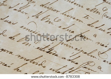 a background detail of an ancient letter
