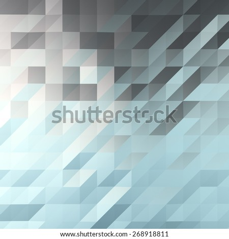 A background image of a bluish polygonal plane created in a 3D computer graphics software.  Shiny material is assigned to the plane and it reflects the color of sky picture. - stock photo