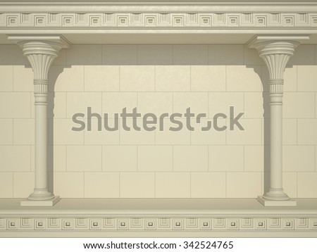 A background of a wall with beautiful columns - stock photo