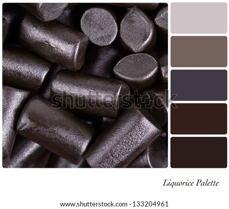 A background of cut pieces of liquorice in a colour palette with complimentary colour swatches - stock photo