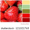A background of fresh, juicy strawberries. Colour palette with complimentary colour swatches - stock photo